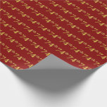 [ Thumbnail: Red, Faux Gold 74th (Seventy-Fourth) Event Wrapping Paper ]