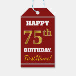 [ Thumbnail: Red, Faux Gold 75th Birthday + Custom Name Gift Tags ]