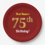 [ Thumbnail: Red, Faux Gold 75th Birthday + Custom Name Paper Plate ]