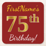 [ Thumbnail: Red, Faux Gold 75th Birthday + Custom Name Paper Coaster ]