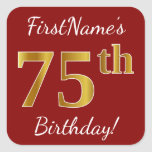 [ Thumbnail: Red, Faux Gold 75th Birthday + Custom Name Sticker ]