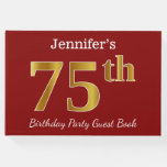 [ Thumbnail: Red, Faux Gold 75th Birthday Party + Custom Name Guest Book ]