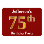 [ Thumbnail: Red, Faux Gold 75th Birthday Party + Custom Name Invitation ]