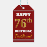 [ Thumbnail: Red, Faux Gold 76th Birthday + Custom Name Gift Tags ]