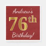 [ Thumbnail: Red, Faux Gold 76th Birthday + Custom Name Napkin ]