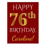 [ Thumbnail: Red, Faux Gold 76th Birthday + Custom Name Postcard ]
