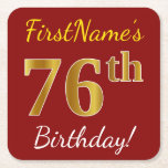 [ Thumbnail: Red, Faux Gold 76th Birthday + Custom Name Paper Coaster ]