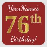 [ Thumbnail: Red, Faux Gold 76th Birthday + Custom Name Sticker ]