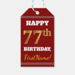 [ Thumbnail: Red, Faux Gold 77th Birthday + Custom Name Gift Tags ]