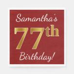 [ Thumbnail: Red, Faux Gold 77th Birthday + Custom Name Paper Napkin ]