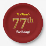 [ Thumbnail: Red, Faux Gold 77th Birthday + Custom Name Paper Plate ]