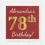 [ Thumbnail: Red, Faux Gold 78th Birthday + Custom Name Paper Napkin ]