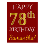 [ Thumbnail: Red, Faux Gold 78th Birthday + Custom Name Postcard ]