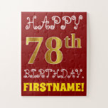 [ Thumbnail: Red, Faux Gold 78th Birthday + Custom Name Puzzle ]