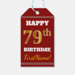 [ Thumbnail: Red, Faux Gold 79th Birthday + Custom Name Gift Tags ]