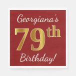 [ Thumbnail: Red, Faux Gold 79th Birthday + Custom Name Napkin ]