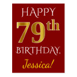[ Thumbnail: Red, Faux Gold 79th Birthday + Custom Name Postcard ]