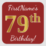 [ Thumbnail: Red, Faux Gold 79th Birthday + Custom Name Sticker ]