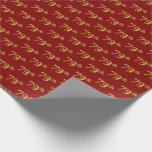 [ Thumbnail: Red, Faux Gold 79th (Seventy-Ninth) Event Wrapping Paper ]