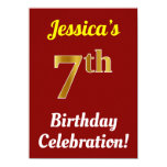 [ Thumbnail: Red, Faux Gold 7th Birthday Celebration + Name Invitation ]
