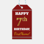 [ Thumbnail: Red, Faux Gold 7th Birthday + Custom Name Gift Tags ]