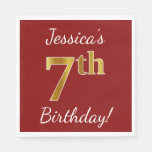 [ Thumbnail: Red, Faux Gold 7th Birthday + Custom Name Paper Napkin ]