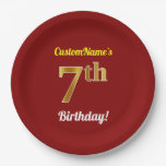 [ Thumbnail: Red, Faux Gold 7th Birthday + Custom Name Paper Plate ]