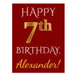 [ Thumbnail: Red, Faux Gold 7th Birthday + Custom Name Postcard ]