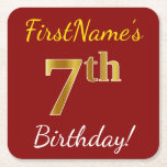 [ Thumbnail: Red, Faux Gold 7th Birthday + Custom Name Paper Coaster ]