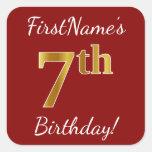 [ Thumbnail: Red, Faux Gold 7th Birthday + Custom Name Sticker ]