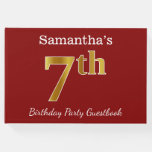 [ Thumbnail: Red, Faux Gold 7th Birthday Party + Custom Name Guest Book ]