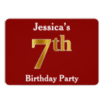 [ Thumbnail: Red, Faux Gold 7th Birthday Party + Custom Name Invitation ]