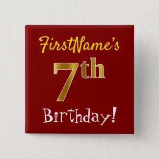 Red, Faux Gold 7th Birthday, With Custom Name Button