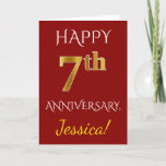 [ Thumbnail: Red, Faux Gold 7th Wedding Anniversary + Name Card ]