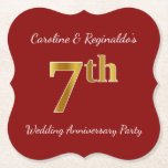 [ Thumbnail: Red, Faux Gold 7th Wedding Anniversary Party Paper Coaster ]
