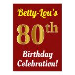 [ Thumbnail: Red, Faux Gold 80th Birthday Celebration + Name Invitation ]