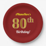 [ Thumbnail: Red, Faux Gold 80th Birthday + Custom Name Paper Plate ]