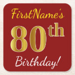 [ Thumbnail: Red, Faux Gold 80th Birthday + Custom Name Paper Coaster ]