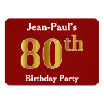 [ Thumbnail: Red, Faux Gold 80th Birthday Party + Custom Name Invitation ]