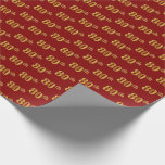 [ Thumbnail: Red, Faux Gold 80th (Eightieth) Event Wrapping Paper ]