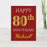 [ Thumbnail: Red, Faux Gold 80th Wedding Anniversary + Name Card ]