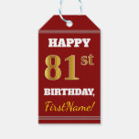[ Thumbnail: Red, Faux Gold 81st Birthday + Custom Name Gift Tags ]