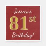 [ Thumbnail: Red, Faux Gold 81st Birthday + Custom Name Paper Napkin ]