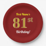 [ Thumbnail: Red, Faux Gold 81st Birthday + Custom Name Paper Plate ]