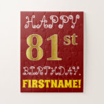 [ Thumbnail: Red, Faux Gold 81st Birthday + Custom Name Puzzle ]