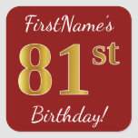 [ Thumbnail: Red, Faux Gold 81st Birthday + Custom Name Sticker ]