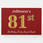 [ Thumbnail: Red, Faux Gold 81st Birthday Party + Custom Name Guest Book ]