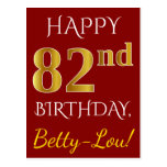 [ Thumbnail: Red, Faux Gold 82nd Birthday + Custom Name Postcard ]