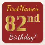 [ Thumbnail: Red, Faux Gold 82nd Birthday + Custom Name Paper Coaster ]