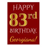 [ Thumbnail: Red, Faux Gold 83rd Birthday + Custom Name Postcard ]